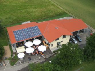 Blick von oben auf das Gerätehaus in der linken Seite und dem Bauhofgebäude, dem rechten Gebäudeteil. Vor der Fahrzeughalle stehen mehrere Schirme, es findet gerade eine Veranstaltung statt.