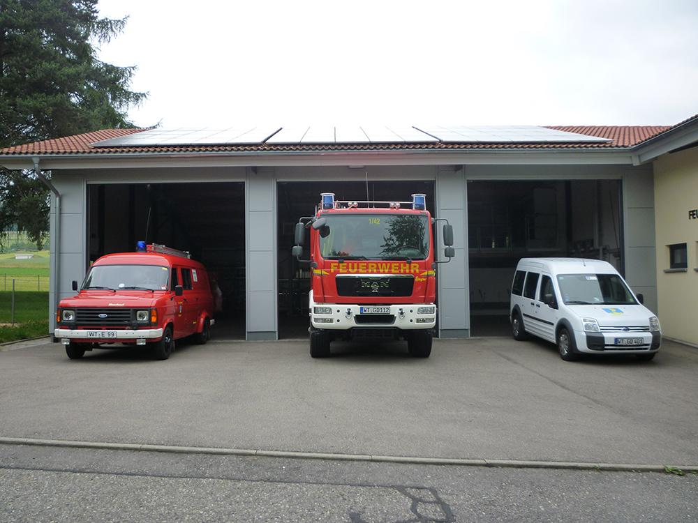 Zu sehen sind die drei Fahrzeuge der Feuerwehr Dettighofen (TSF, LF und MTW), die vor dem jeweiligen Tor der Fahrzeughalle stehen.